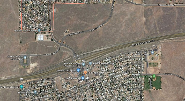 This map shows the  approximate location  of a proposed 189-home subdivision on both sides of Pronghorn Ranch Parkway south of Antelope Meadows Drive. (Google map screenshot)