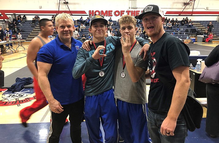 Camp Verde head coach Larry Allred, assistant coach Jacob Wolfe, Benji Perez and Dade Woodard. Photo courtesy Larry Allred