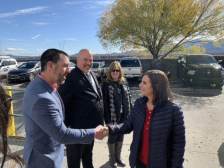 Prescott Valley Mayor Kell Palguta shakes hands with U.S. Sen. Martha McSally during her visit to the Prescott Valley Post Office, 8307 E. Highway 69 Suite 1, Friday, Nov. 22, 2019. McSally has been receptive to the mayor's pleas to relocate the post office to a bigger, more centralized location in town. (Darron Moffatt/Courtesy, File)