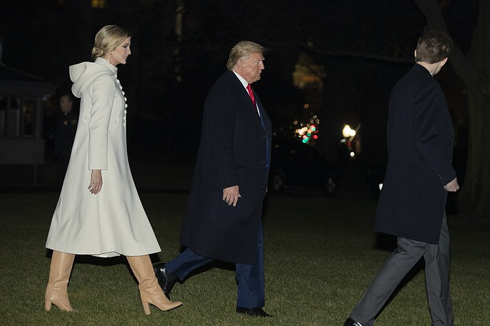 President Donald Trump, son Barron Trump and Ivanka Trump, left, leave the White House, Friday, July 20, 2019, in Washington, on their way to Andrews Air Force Base, Md, where the president will sign the National Defense Authorization Act for Fiscal Year 2020. The first family will then fly to Florida and spend their vacation at his Mar-a-Lago estate in Palm Beach, Fla. (Manuel Balce Ceneta/AP)