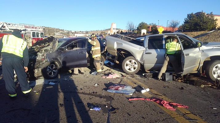 Rescue crews work the scene of a seven-vehicle crash on Highway 69, near the Yavpe Connector, Friday afternoon, Dec. 20, 2019. (Prescott Fire/Courtesy)