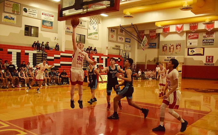 Mingus senior Tristan Wright scores during the Marauders' 47-32 loss to Glendale Deer Valley on Friday night at home. VVN/James Kelley