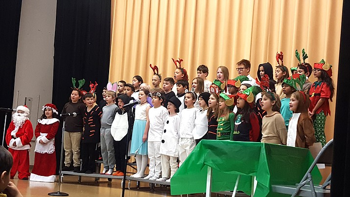 Students at Williams Elementary-Middle School perform before a packed crowd Dec. 18 at Parenteau Auditorium. (Submitted photo)
