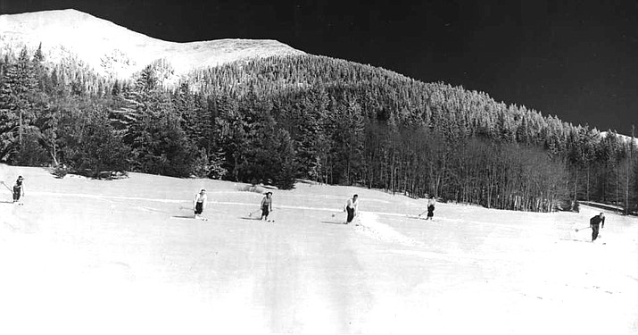A group of skiers on the San Francisco Peaks. The first ski routes were blazed on the San Fransico Peaks in the late 1930s. (Photo/Williams Historic Photo Archive)