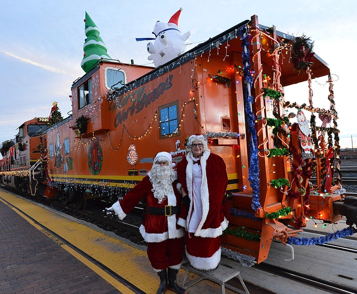 The Santa Train stopped in Winslow Dec. 14 where Santa and Mrs. Claus greeted residents as part of the town's annual tradition. (Todd Roth/NHO)