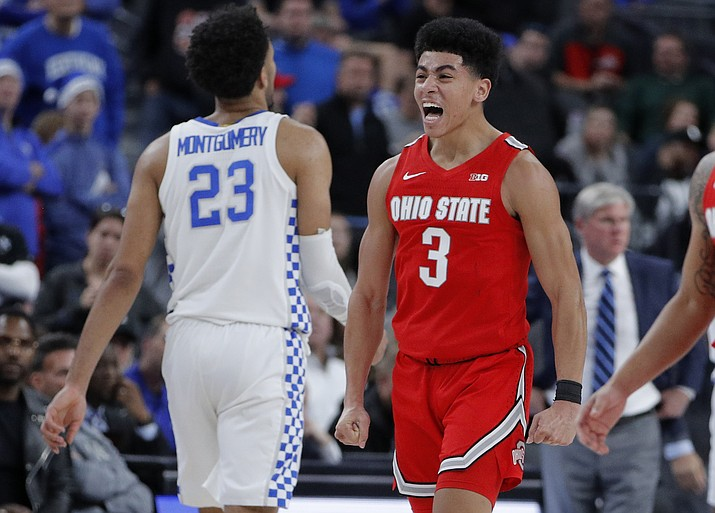Ohio State's D.J. Carton (3) celebrates after a play against Kentucky during the second half of a game Saturday, Dec. 21, 2019, in Las Vegas. (John Locher/AP)
