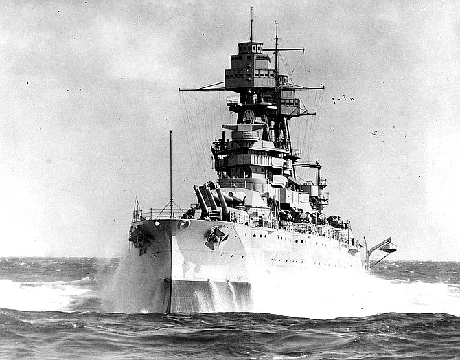 The USS Arizona pitching in heavy seas during the 1930s. Two new U.S. Navy submarines will revive the names of the USS Arizona and USS Oklahoma. (U.S. Navy Photograph)