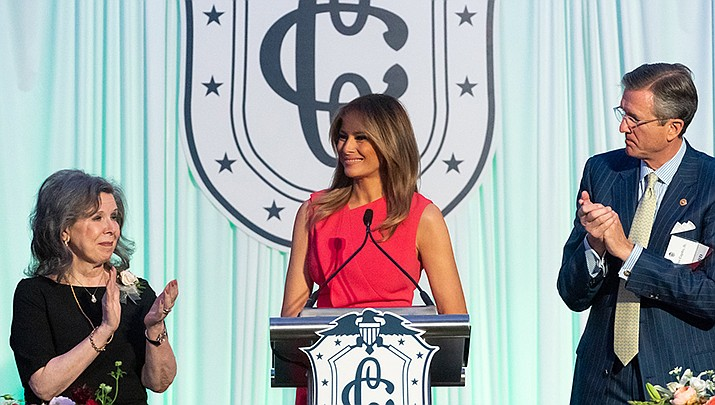 First lady Melania Trump, shown above after speaking at a Congressional Spouses Luncheon in May, has been mostly quiet throughout the impeachment of her husband, President Donal Trump. (Public domain)