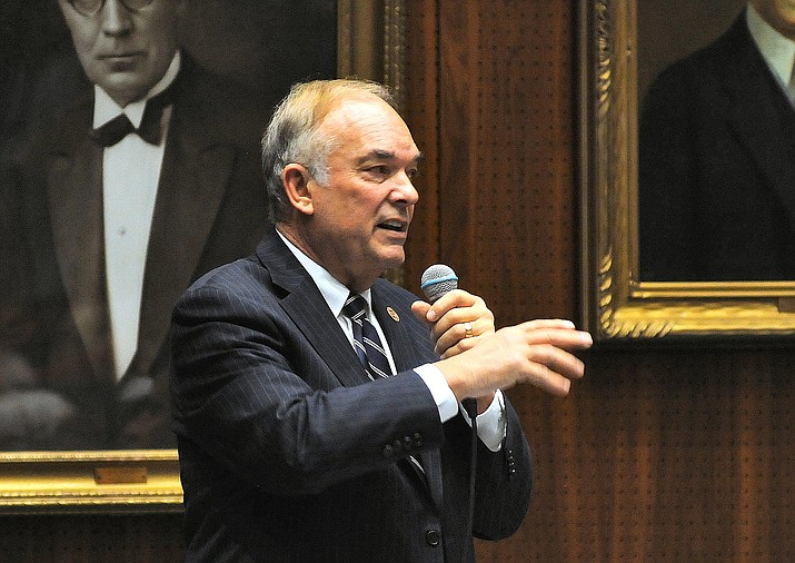 Rep. Don Shooter in 2018 arguing to colleagues that he should not be removed from the state House. They voted anyway to oust him 56-3. Capitol Media Services file photo by Howard Fischer
