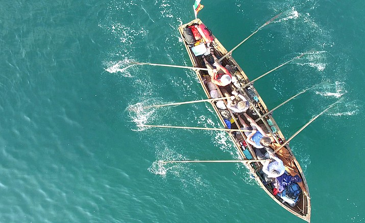 For hundreds of years people sailed from Ireland to A Coruña in Northern Spain and walked the camino to Santiago de Compostela from there. In 2014 this inspiring crew began their own version of this historical voyage in their own handmade traditional boat, called a 'Naomhóg'.