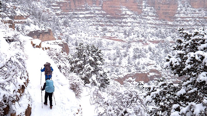 Bright Angel Trail in Grand Canyon National Park Dec. 26 at 5:15 p.m. (Photo/Grand Canyon National Park)