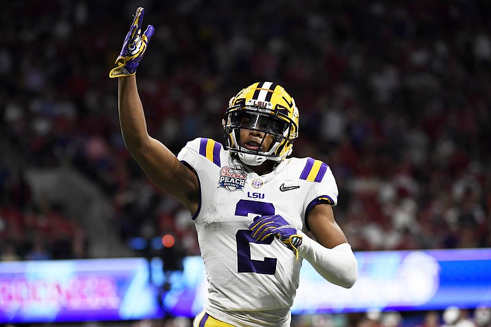 LSU wide receiver Justin Jefferson (2) celebrates his touchdown against Oklahoma during the first half of the Peach Bowl NCAA semifinal college football playoff game, Saturday, Dec. 28, 2019, in Atlanta. (Danny Karnik/AP)