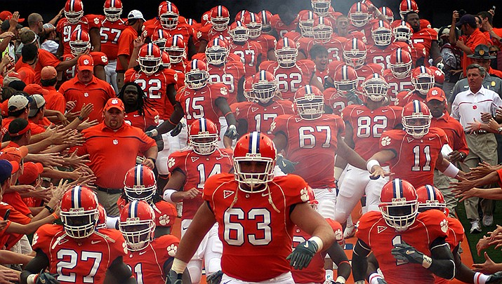 Clemson, the defending NCAA national champions in football, will play No. 1 LSU for the national title. (Photo by Jim Ferguson, cc-sa-by-2.0, https://bit.ly/37hb9DA)