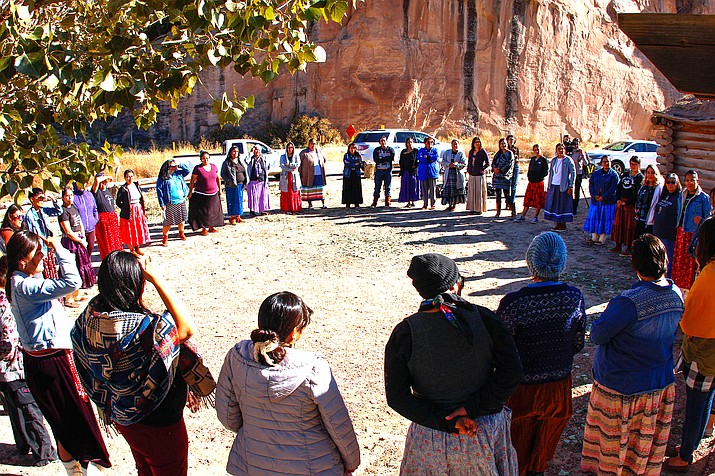 Participants gather at the end of the day at an indigenous doula workshop in Window Rock Oct. 24. (Photo/Delia Johnson,Cronkite News)