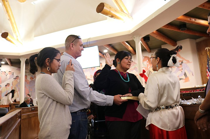 Neomi Gilmore, Letitia Stover (above) and Malcolm Laughing each took the oath of office administered by Chief Justice JoAnn Jayne Dec. 19. (Photo/Navajo Nation)