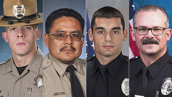 Governor Doug Ducey announced the inaugural 2019 Arizona Medal of Valor honorees on Dec. 30, recognizing heroic public safety officials who demonstrated extraordinary acts of valor, courage and heroism. Left to right: Trooper Tyler Edenhofer, Department of Public Safety; Trooper Henry Roanhorse, Jr., Department of Public Safety; Officer Alvaro Silva, Tucson Police Department; Sergeant Joshua Wade, Glendale Police Department.