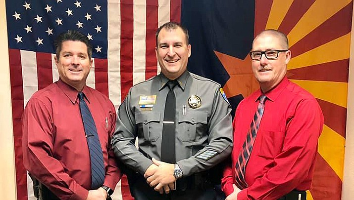 John Salvino, center, has been promoted to lieutenant in the Mohave County Sheriff's Office. He is flanked by Undersheriff Ed Trafecanty, left, and Chief Deputy Dean McKie. (MCSO photo)