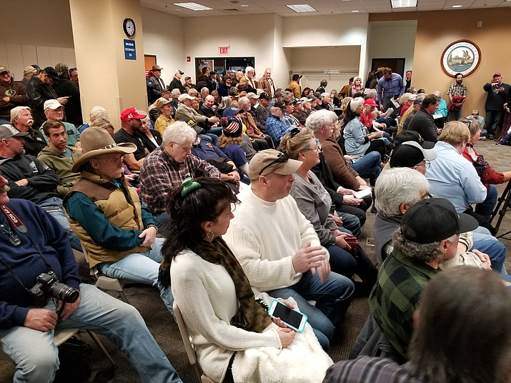 People pack the Yavapai County Board of Supervisors chamber in Prescott during the board's Jan. 2 meeting. (Max Efrein/Courier)