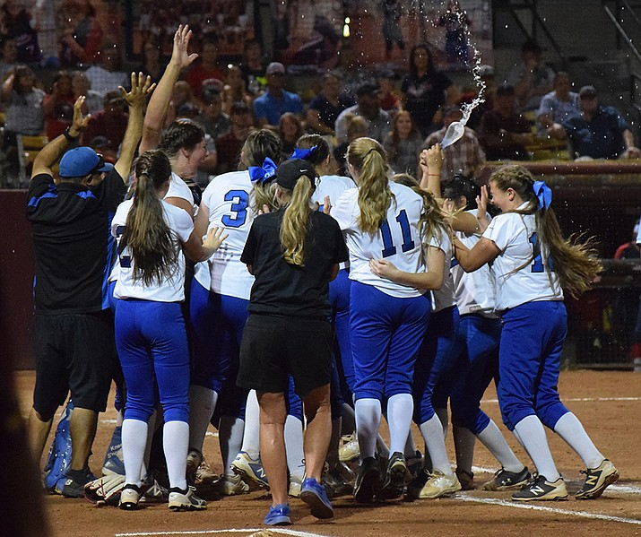 Camp Verde softball players celebrate winning the state championship at ASU on May 14. VVN/James Kelley