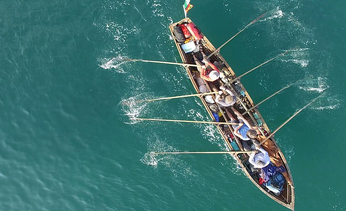 """A crew including a writer, two musicians, an artist and a stonemason embark on the Camino by sea, in a traditional boat that they built themselves on an inspiring, and dangerous, 2,500 km modern day Celtic odyssey all the way from Ireland to Northern Spain in """"The Camino Voyage""""."""