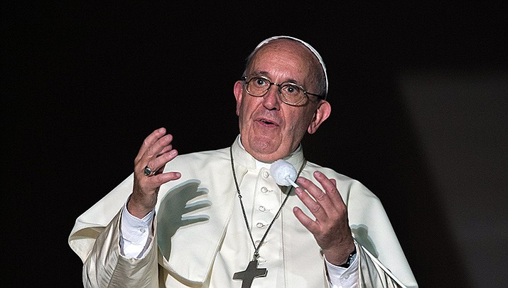 Pope Francis decried violence against women on Wednesday, Jan. 1, 2020. (Vatican photo, cc-by-sa-2.0, https://bit.ly/2sxFYp4)