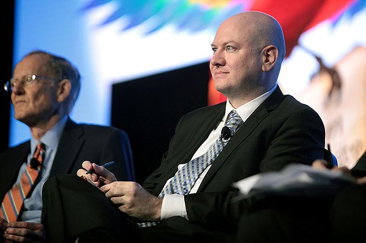 Daniel McCarthy, right, a businessman challenging U.S. Sen. Martha McSally (R-Ariz.) in the Republican primary, is shown speaking at the 2016 FreedomFest at Planet Hollywood in Las Vegas, Nevada. (Photo by Gage Skidmore via Wikimedia Commons)