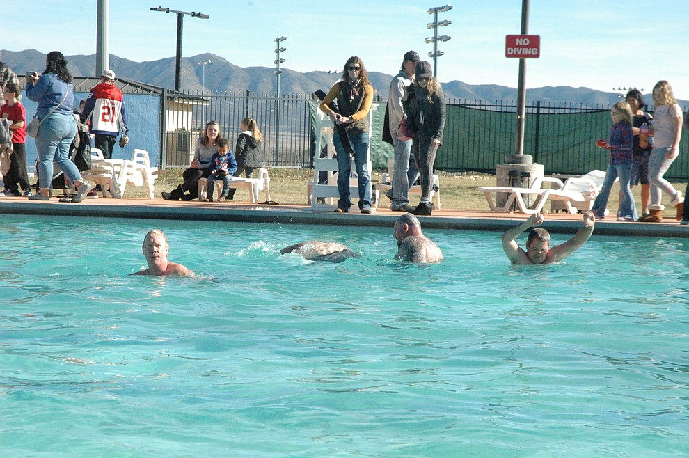 Polar Bears in the pool after taking the plunge at the 15th annual Polar Bear Splash at Mountain Valley Splash Saturday, Jan. 4, 2020. (Jason Wheeler/Courier)