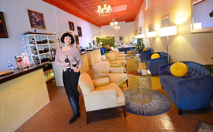 Brighid McLoughlin shows off one of her Tantrum Wines in Cottonwood in her newly designed tasting room. VVN/Vyto Starinskas