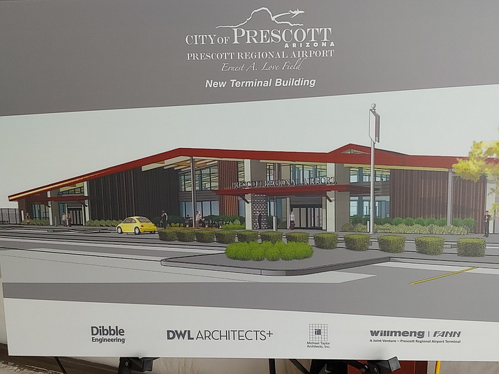 An artist's rendering of how the Prescott Regional Airport's new terminal will look from the outside once it is finished, most likely in the spring of 2021. (City of Prescott/Courtesy)