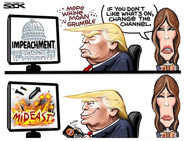 Editorial cartoon (2): Jan. 8, 2020