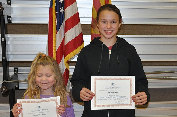 The Kiwanis Club of Williams honored seventh grader Kyleigh Amos and second grader Emma Townsend as students of the month for December with a pizza party for them and their family at Maine Consolidated School Dec. 19. (Submitted photo)