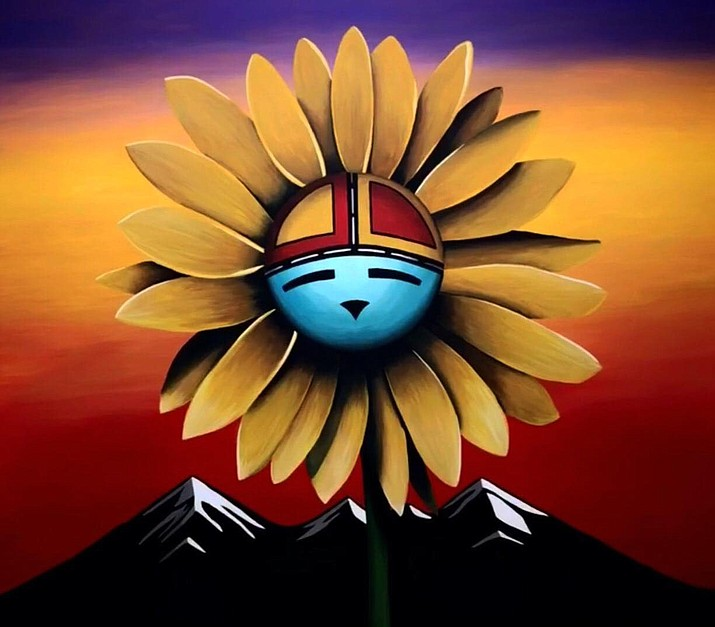 A mural depicting the Hopi Sunflower and Nuva'tukya'ovi hangs in the remodeled Northern Arizona Healthcare's Behavioral Health Unit as an example of Flagstaff artists helping heal through the power of art. (Photo courtesy of Duane Koyawena)