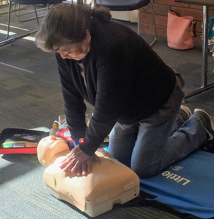 A participant taking the CPR class that was offered in December at CCC in Page. (Submitted photo)