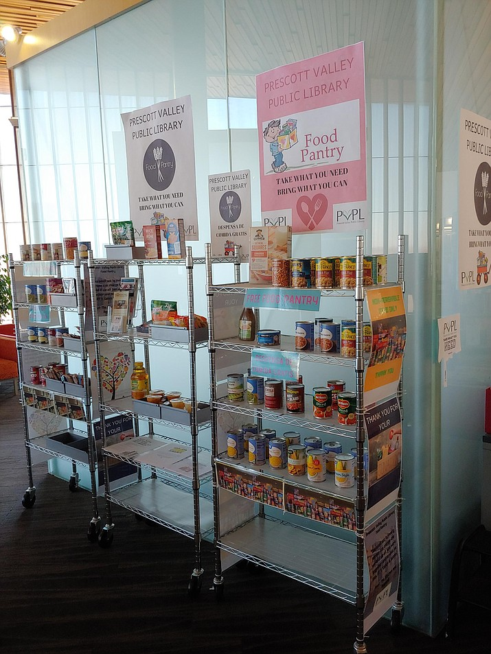 The Prescott Valley Public Library's food pantry, located on the east side of the second floor, is always available for patrons of all ages in need of a boost. (Doug Cook/Courier)