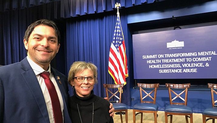 State Rep. Leo Biasiucci (R-Lake Havasu City) and Mohave County Supervisor Hildy Angius of District 2 are shown at the White House Mental Health Summit. (Photo courtesy of Hildy Angius)