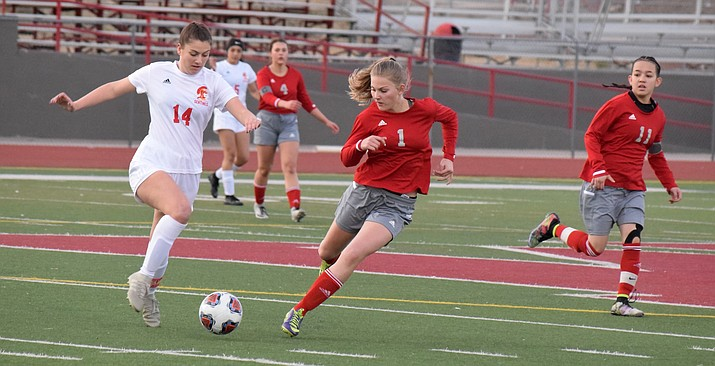 Mingus sophomore Alexis Ayersman (1) runs to the ball during the Marauders' 1-0 win over Seton Catholic Prep on Tuesday at home. VVN/James Kelley