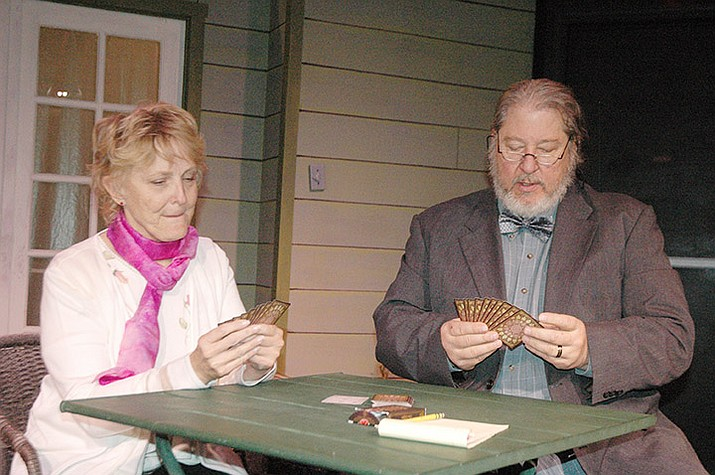 "Sandy Vernon and Jonathan Perpich as Fonsia Dorsey and Weller Martin play a game of Gin Rummy in character at Stage Too in preparation for Prescott Center for the Arts' production of ""The Gin Game."" The first showing is at 7:30 p.m. Thursday, Jan. 16. (Jason Wheeler/Courier)"