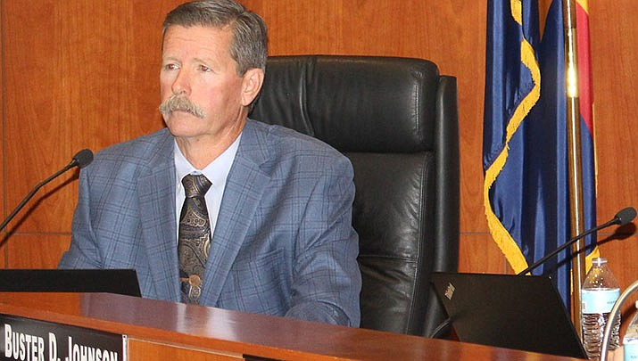 Supervisor Ron Gould listens during the Mohave County Board of Supervisors' meeting on Monday, Jan. 6. (Photo by Agata Popeda/Kingman Miner)