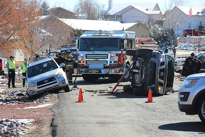 First responders handle a rollover crash on N. Long Rifle Rd. in Prescott Valley Friday, Jan. 10, 2020. (Max Efrein/Courier)
