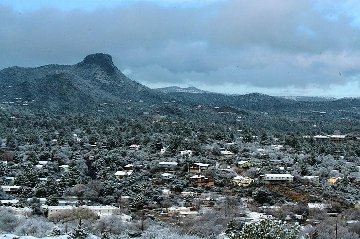 Snow blankets the City of Prescott on Friday, Jan. 10, 2020. (City of Prescott Facebook Page/Courtesy)