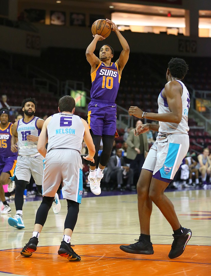 Northern Arizona Suns guard ShawnDre Jones (10) takes a jump shot during a game against the Greensboro Swarm on Sunday, Jan. 5, 2020, at the Findlay Toyota Center in Prescott Valley. (Matt Hinshaw/Courtesy)