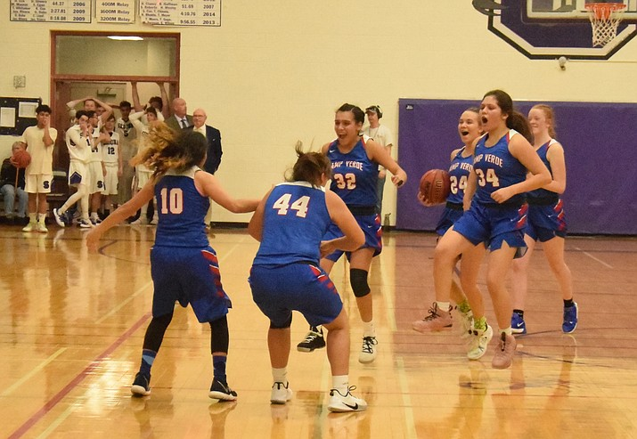 Camp Verde celebrates their 51-50 win at Sedona Red Rock on Friday night.  VVN/James Kelley