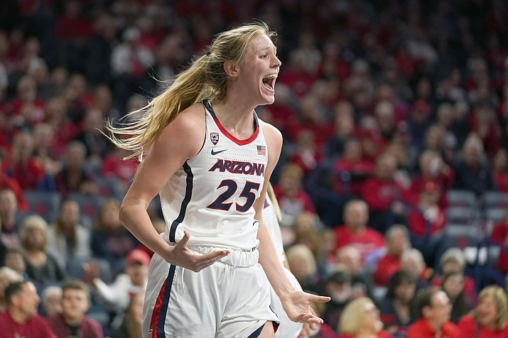 Arizona forward Cate Reese (25) reacts after getting called for a foul during the first half of a game against Oregon State, Friday, Jan. 10, 2020, in Tucson. (Rick Scuteri/AP)