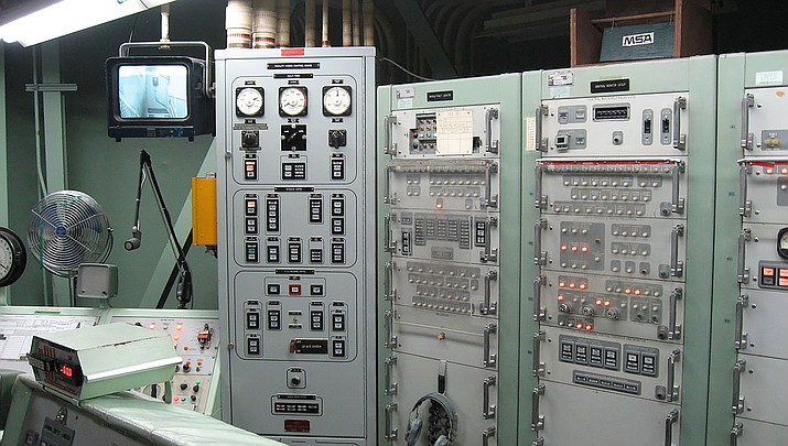 A pair of former Titan missile launch facilities in the Tucson area have been placed on the real estate market for about $500,000 each. The photo shows a Titan missile control room at the Titan Missile Museum in Sahuarita. (Public domain)