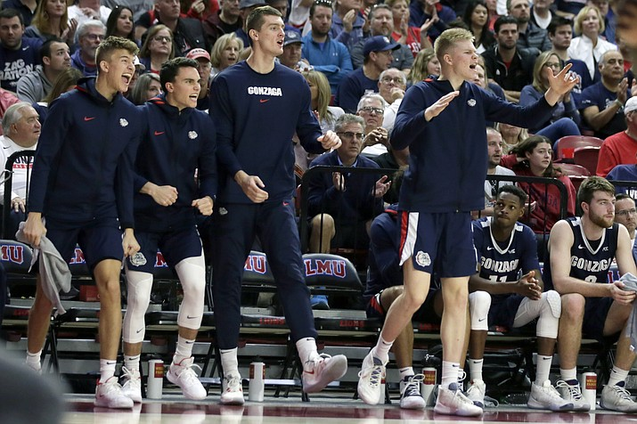 Gonzaga players celebrate a basket during the second half of a game against Loyola Marymount in Los Angeles, Saturday, Jan. 11, 2020. (Alex Gallardo/AP)