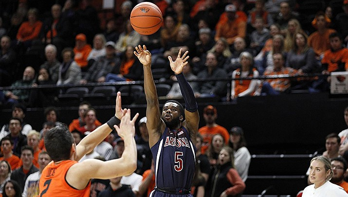 Arizona Wildcats guard Max Hazzard puts up a shot in the Wildcats 82-65 loss to Oregon State on Sunday, Jan. 12, 2020. (University of Arizona Athletics Department photo)