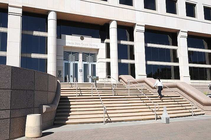 The steps of the Arizona Supreme Court are seen in this file image. The court had originally blocked an initiative to raise taxes on wealthy Arizonans to generate funds for public education. (AP file)