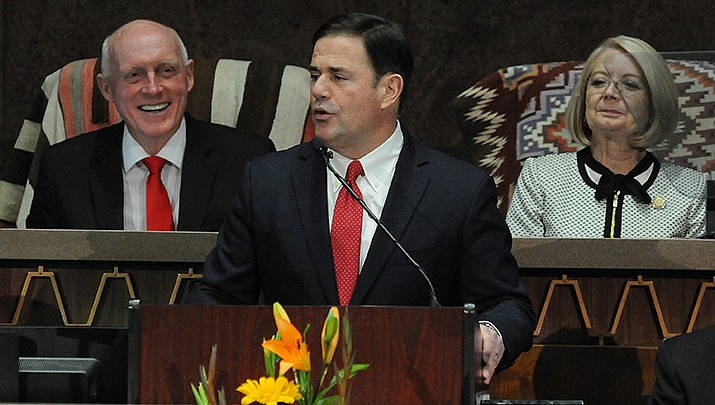 Arizona Gov. Doug Ducey, in his State of the State address on Monday, Jan. 13, 2020, promised to restore funding cut from K-12 education. (Photo by Howard Fischer/For the Miner)