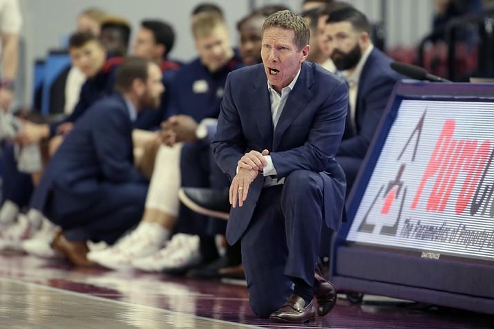 Gonzaga head coach Mark Few yells out during the first half of an NCAA college basketball game against Loyola Marymount in Los Angeles, Saturday, Jan. 11, 2020. (Alex Gallardo/AP)