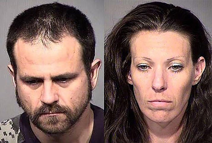 Marisa Claire, 38, on the right, pleaded guilty to two counts in Maricopa County Superior Court last week in a sex abuse case. Brandon Dunlap, left, was found deceased in late July of 2018 in Phoenix after the indictment.